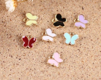 20 pcs of antique gold  little butterfly multicolour drop oil charm pendants 7x9mm