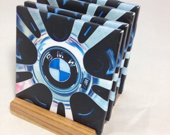 "HANDMADE ""BMW"" Drink Coasters 