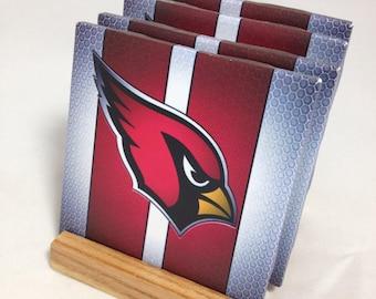 "HANDMADE ""Arizona Cardinals"" Drink Coasters | Set of FOUR | The Coaster Attic"