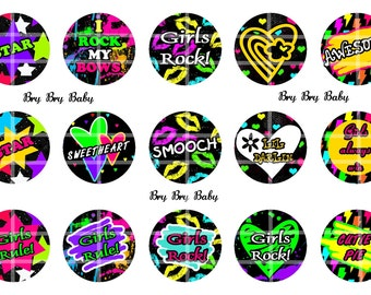 "Girls Rock Rule 1""  Bottle Cap images Awesome"