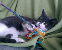 Teaser Cat Toys  Dangly Yarns on a Stick Optional Bell & Catnip