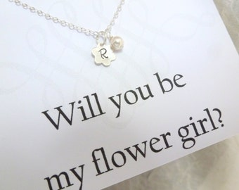 Flower Girl Necklace, Be my Flower Girl, Silver Flower & Pearl Necklace, Ask Flower Girl, Childs Necklace, Children Jewelry