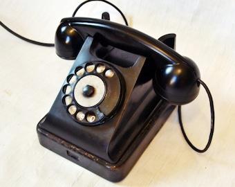 Vintage Rotary Telephone Black Bakelite phone Soviet Vintage USSR  Industrial Office supply movie requisite Steampunk