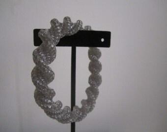Sparkle Silver Chunky Large Bangle Bracelet