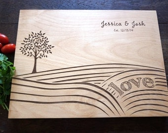 Personalized cutting board - Anniversary gift for farmer couple - Wood custom cutting board bridesmaid gift - Country kitchen decor gift