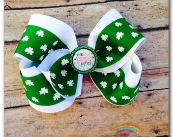 St Patrick's Day Hair Bow I'm Too Cut To Pinch Clover Hair Bow St Patty's Day Hair Bow