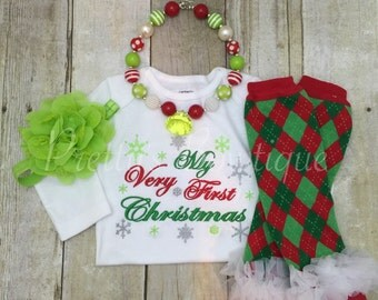 Baby girl 1st Christmas outfit - My Very First Christmas Set Shirt, Legwarmers, Headband, and Necklace