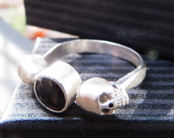 Silver double skull ring with Black Spinel, Memento Mori or Memorial Hair or Pet Ash Ring