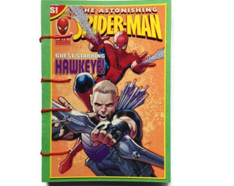 SPIDERMAN | Mini Journal | GREEN | Hand Stitched | Notebook | Comic Book  | Blank Book | Gift Idea |  Notepad | Sketchbook