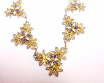 Vintage Filigree and Enamel Necklace