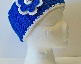 Trendy Blue and White Duke Inspired Hand Crocheted Headband Ear Warmer Child & Adult Sizes Available
