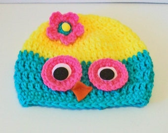 So Cute Bright Turquoise, Yellow and Hot Pink Owl Hand Crocheted Baby and Childrens Hat Great Photo Prop 5 Sizes Available