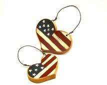 Handmade Primitive Patriotic Hearts Americana