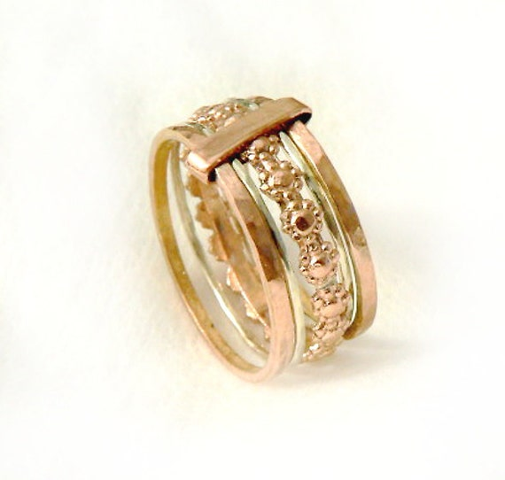solid gold stacking rings five rings joined together