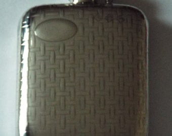 4oz Stamped pewter hip flask woven pattern with captive top