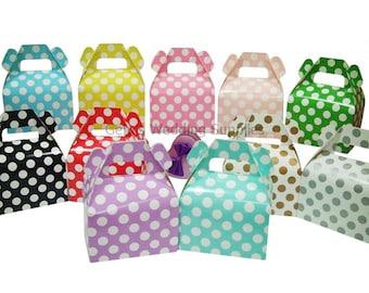 12 x Polka Dot Gable Boxes Wedding Party Favour Lolly Bomboniere Gift Box Supplies