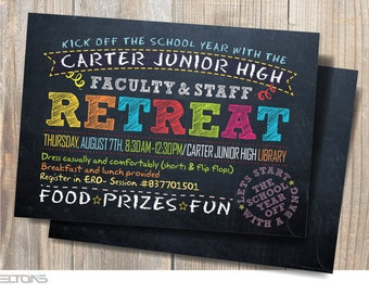 Back to School / Kick off the school year with the Faculty & Staff Retreat / Printable Chalkboard Party Invitation