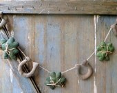 Primitve Shamrock Garland-Primitive Horseshoe Garland-St'Patrick's Garland-Primitive Decor-St Patricks Day Primitives