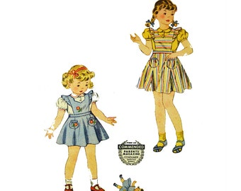 Vintage 40s Girls Dress Pattern . Simplicity 4149 Girls Size 4 . Childs Pinafore & Blouse Pattern . 1940s Vintage Childrens Sewing Pattern