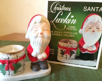 Vintage 1978 Jasco Santa Porcelain Candleholder Figurine, Handpainted Christmas Luvkins - In Original Box