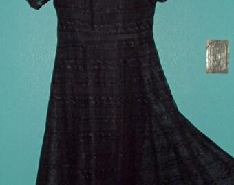 40s-50s Vintage Plus Size Dressy Black Eyelet Lacy Short Sleeve Rockabilly Dress — with Original Slip
