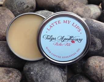 LATTE MY LIPS Pucker Pot, Coffee Lip Balm Tin, Natural Beeswax Lip Balm with Coffee Essential Oil, Cafe Latte Lip Balm, Coffee Lover Gift
