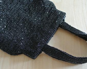 1980s Black Cross Body Beaded Festival Shoulder Bag Boho Edgy Clutch