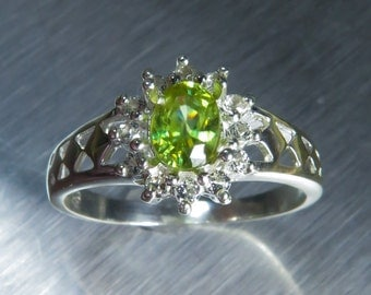 0.60cts Natural titanite sphene canary yellow red and green sparks & white topaz Sterling 925 Silver engagement ring all sizes