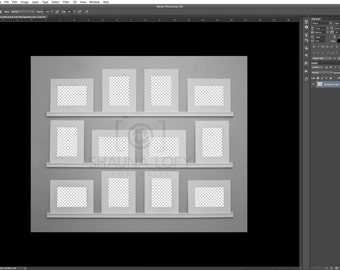 12 Mixed Mats Viewing Wall Template - Adobe Photoshop CS3 and Up
