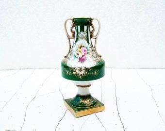 Vintage Noritake Made in Japan Bolted Pedestal Base Green and Gold Rose Urn Vase