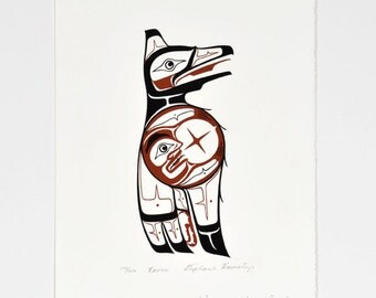 Vintage Native American Pacific Northwest Raven and Moon Limited Edition Print by Stephanie Kewistep