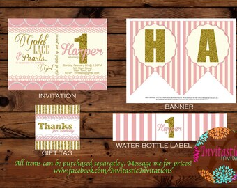 Gold, Lace and Pearl 1st Birthday Package - Pink and Gold, Glitter Girl Party theme - 1st birthday -banner, topper, invitation, Thank you