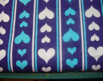 Blue and White hearts Striped on Dark Blue Flannel BTY