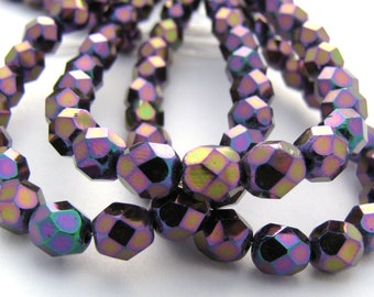 Iris Purple 6mm Facet Round Czech Glass Fire Polished Beads 25pc #2700