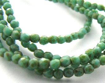 NEW Opaque Turquoise Picasso 2mm Facet Round Czech Glass Fire Polished Beads 50pc #2332