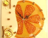 Orange glass wall clock. Fruits clock. Glass art. Modern clock. Art clock. Kitchen clock. Orange fruit art. Nature clock. Wall decor.