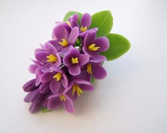 Flower hair clip violet lilac, Prom hair flower, Hair flower, Polymer clay flower (cold porcelain), Flower hair accessories, Lilac hair.