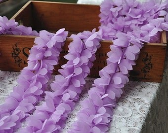 Lace trim lavender chiffon flower petal lace fabric trim bridal chiffon wedding supply