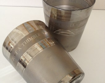 Cera Glass 3 Large Old Fashioneds  Vintage Barware Man Cave Silver Metal Finish~Just a Thimble Full!