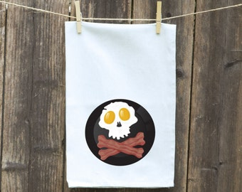 Kitchen Towel, Linens, Custom, Monogrammed, Personalized, Linens, Dishcloths, Hand,Tea, Flour Sack,Cleaning, Skull with Bacon and Eggs