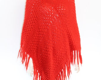 Vintage 1960's ITALY Hand Knit Red Wool Fringe Cape Poncho OSFA