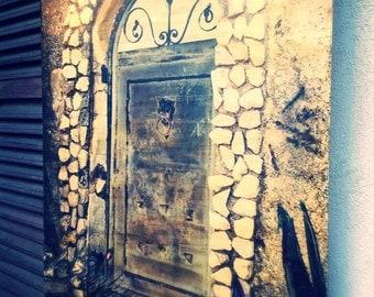 La Soglia e La Porta - The Threshold and The Gate - Canvas painting - 50 x 70 - print acrylic tempera