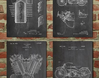 Harley Davidson Patent Posters Group of 4, Harley Davidson Sign, Vintage Motorcycle, Motorcycle Parts, Motorcycle Gift Harley Patent, PP1186