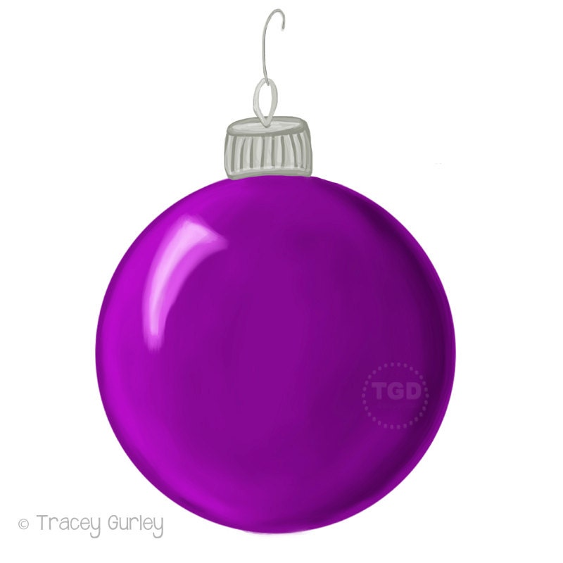 Purple christmas ornament clip art hand painted