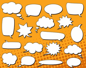 Comic Book Speech Bubbles Clip Art, Text Bubbles Clipart, Chat Bubbles, Text Clouds - Instant Download - YDC015