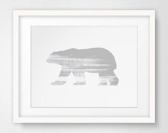 Polar Bear, Polar Bear Nursery Print, Polar Bear Print, Grey White Nursery, Bear Nursery, Polar Bear Art, Grey Nursery, White Nursery