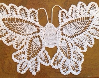 Hand Crocheted 28 by 16 inch Butterfly
