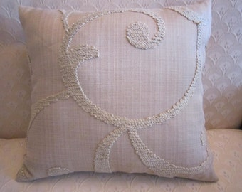 "Loel Embroidered pillow cover in biege with biege swirls, 14"" square with invisible zipper on bottom"