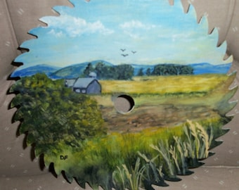 HAND PAINTED SAW Blade with country scene