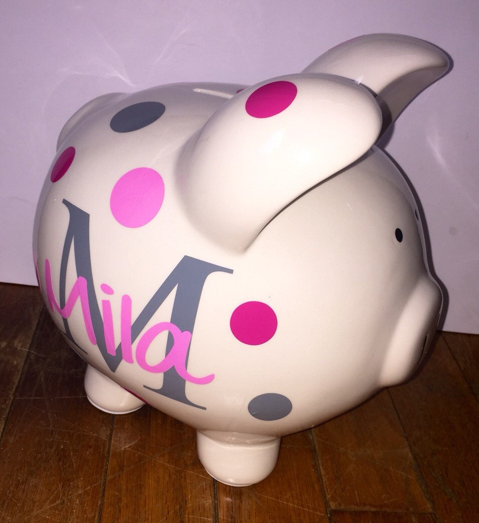 Personalized piggy bank by bitsnpiecesbysk on etsy for Create your own piggy bank